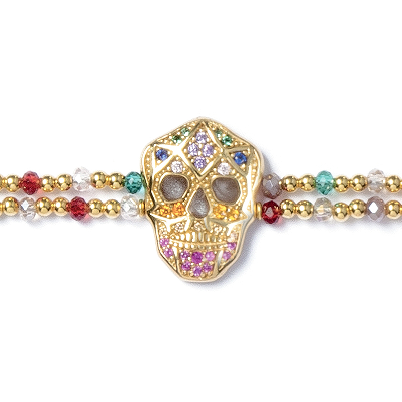 Skull Bracelet - Yellow gold plated - Woman