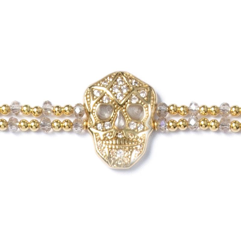 Skull Bracelet - Yellow gold plated - Man